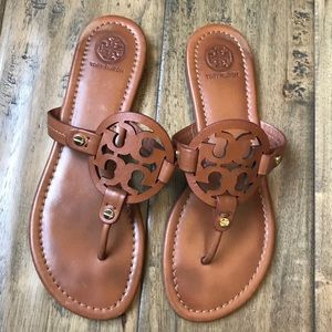 Tory Burch Miller Sandals Brown Leather 7